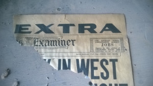 """Piece of front page from Los Angeles Examiner """"Extra"""" Edition - September 9, 1939"""